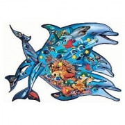 Deep Blue Sea 1000 Piece Shaped Dolphin Puzzle by Sunsout