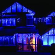 LED Fényjégcsap átlátszó vezetékes 6,6m kék