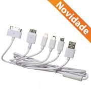 CABO DADOS USB 5 EM 1 PARA IPHONE SAMSUNG E MOTOROLA