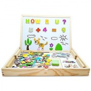 XL Wood Magnetic Letters-Numbers-Animals Set (151 Pieces) - Educational Learning Wooden Puzzle & Drawing Board With Wri
