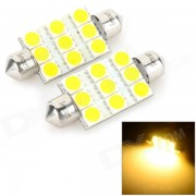SENCART feston 39mm 5W 160lm 3500K 9 x 5054 SMD LED lumière blanche chaude voiture lampe de lecture (12 ~ 16V)