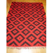 Antique hand woven Romanian carpet rug from Transylvania, flat weave rug /code 96