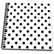3dRose db_20401_2 White & Black Polka Dot Print Memory Book 12 by 12
