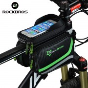 ROCKBROS MTB Bicycle Frame Front Bag Head Top Tube Double IPouch Touch Cycling Pannier For 5.8 /6 inch Smartphone Touch Screen