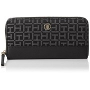 Tommy Hilfiger Th Essential Large Z/A Wallet Jacquard Porta Carte di Credito, 75 cm, Black/Iron