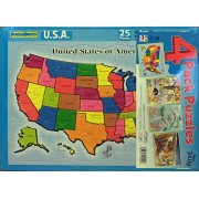 Puzzle Patch 4-Pack Picture Puzzles: United States, Trains, Ocean Animals and Zoo Animals
