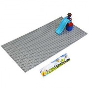 Lego-Duplo (big dot) Compatible Brick Building Base 20 x 10 Silver Gray Baseplate - by Fun For Life
