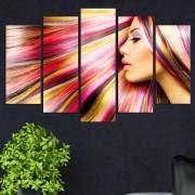 Декоративeн панел за стена с дамски образ и пъстроцветен акцент Vivid Home