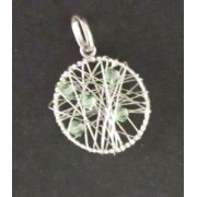 Opleteny kruh - zeleny - stribrny privesek
