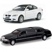 Playking Combo of 1999 Lincoln Town Car Stretch Limousine and BMW M3 Coupe 5'' Die Cast Metal and Pull Back Action Car