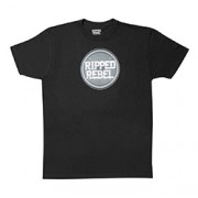 RIPPED REBEL MEN'S COMBED RING SPUN CREW NECK T-SHIRT (Plate Design Black XXL)