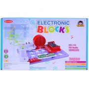 Planet Of Toys Learning Science Electronic Circuit Blocks - Create Exciting Projects (Fm Radio Glow Flying Saucer Logic Circuit) For Kids / Children