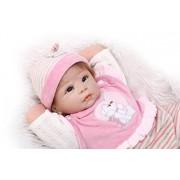 NPKDOLL 22inch renacer de la muñeca de silicona suave Simulación de vinilo 55cm magnética Boca realista juguete lindo niños Pink White Bear con acrílico Ojos Reborn Doll A1ES