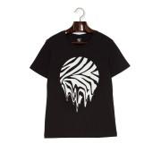【73%OFF】プリント クルーネック 半袖Tシャツ ブラック l ファッション > メンズウエア~~その他トップス