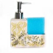 Dispenser pentru sapun lichid si burete albastru