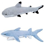 ADVENTURE PLANET - Set of 2 Plush SHARKS - 13 BLACK TIP Shark & 14 MAKO Shark - Stuffed Animal - OCEAN Life - Soft Cuddly Shark Week TANK TOY Gift