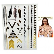 Flash Tattoo Gold and Silver Colored Triangle and Other Pattern Temporary Tattoos