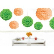 Kubert® Pom Poms - 12 pcs Tissue Paper Flowers,Peach , Mint Green ,3 Sizes,Tissue Paper Pom Poms,Best Mother's Day decoration,Wedding Decor,Party Decor,Pom Pom Flowers,Tissue Paper Pink,Tissue Paper Flowers Kit,Pom Poms Craft