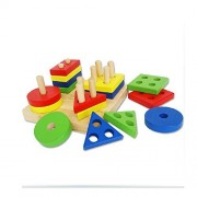 Star Mall Wooden Building Blocks Geometric Shape Sorting Board Baby Plan Toys