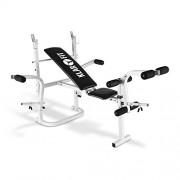 Klarfit HB3BC-W banco de musculación (curler de brazos, curler de piernas, reposa barra, PVC, hasta 160 kg, sección larga, cómodo, secado rápido, no irrita, regulable)