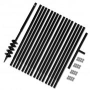 vidaXL Zemní vrták s rukojetí 100 mm, nástavci 17 m, ocel