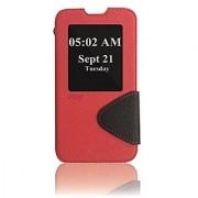 Roar- Super Slim PU Leather/ Diary Wallet View Case for LG L70 D320/ L70 Dual D325 (Red/Black)