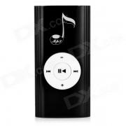 Musical nota patron portatil reproductor de MP3 recargable w / altavoz / TF / clip - negro + blanco