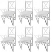 6 pcs White Wood Dinning Chair