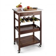 Klarstein Vermont Kitchen Wagon Serving Trolley Drawer Wine Rack Stainless Steel