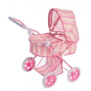 Deluxe Baby Doll Stroller Pram For Dolls Pink With Stripes