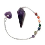 Find Something Different Amethyst Pendulum with Chakra Chain