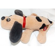 """1986 Vintage Newborn Pound Puppies Plush 7"""" Tan Puppy Dog with Black Spots and Long Dark Brown Ears"""