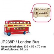 Sunnytech1pc 3D Wooden Jigsaw Puzzle With Painting Tools Child Educational Woodcraft Puzzle Toy DIY Kit (London Bus - JP238P)
