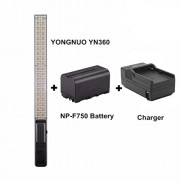 YONGNUO YN360 Handheld LED Video Light 3200K-5500K RBG Colorful Professional Photo LED Stick 15.5 Inch with Charger and NP-F750 Lithium-ion Battery + MicroFiber Cloth