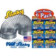 Poof Slinky Model #100 Original Metal Slinky (Silver) Party Set Bundle 6 Pack