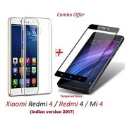 shoppingmonk Xiaomi Redmi 4 / Redmi 4 / Mi 4 / Redmi4 / Mi4 [May 2017 Release] (COMBO OFFER) Original Sleek Premium Clear Soft Back Cover Case For RedMi 4 -( Transparent ) + 2.5D curved 3D Edge to Edge Tempered Glass Mobile Screen Protector ( Black )