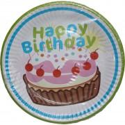 Papír tányér 6 db/cs - happy birthday, muffinos