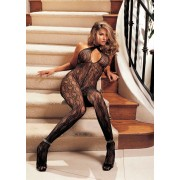 Shirley Of Hollywood - Swirl Halter Open Front Bodystocking