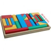 WOODEN TOYS BLOCKS-N-BRICKS IN WOODEN BOX (SET OF 52 PCS.)
