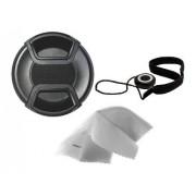 Nikon Coolpix P610 Lens Cap Center Pinch + Lens Cap Holder + Nw Direct Microfiber Cleaning Cloth.