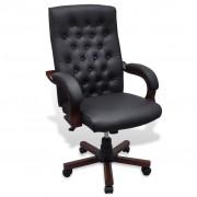 vidaXL Čierne kancelárske kreslo z umelej kože Chesterfield