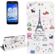 Palettes Sweet Street Pattern Leather Case with Holder & Card Slots & Wallet for Huawei Ascend G7