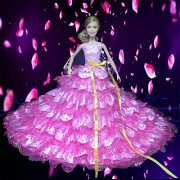 Yacool® Handmade Peony fiori abito coda più grande di nozze Bling abiti e vestiti per muñeca (Rosa)