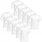 Fruit of the Loom 10 pcs Polo Homme Blanc Original S