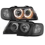 Přední světla, lampy AUDI A3 96-00 - ANGEL EYES Černá H7