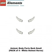 "Lego Parts: Animal, Body Parts Barb Small (PACK of 4 - White Helmet Horns) by ""Parts - Animals, Body Part"""