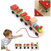 Tickles Wooden Train toys Geometric Shape Matching Wooden Stacking Blocks Baby kids