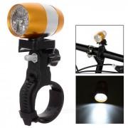 Waterproof 6-LED 2-Mode Neutral White Light Cycling Bike Light w/ Holder - Gold