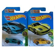 Hot Wheels 2016 HE Exotics Porsche Carrera GT (Yellow) & Lamborghini Sesto Elemento 2-Car Bundle Set