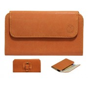 J A4 Nillofer Belt Case Mobile Leather Carry Pouch Holder Cover Clip For Lava X81 Orange